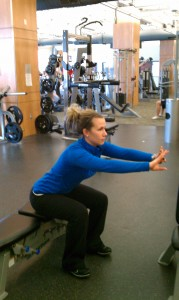 Becky Wibbenmeyer doing a perfect bench squat
