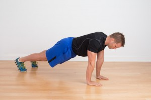 Dave Reddy demonstrating a pressing strength pattern - the push up plank
