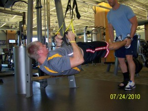 Training in my boot - this is me spotting (now) NHL New York Islander Scott Mayfield with a suspended TRX Row.